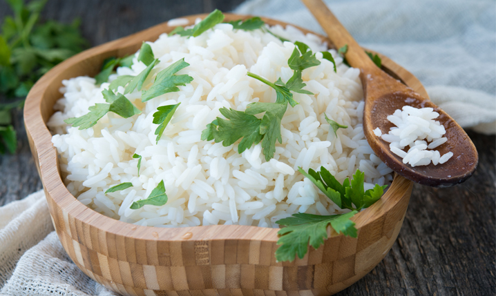 bowl of rice with coriander